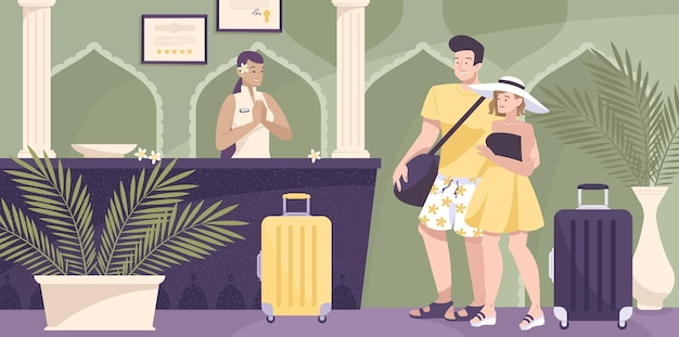 Ilustracja recepcji hotelu z usługami personelu