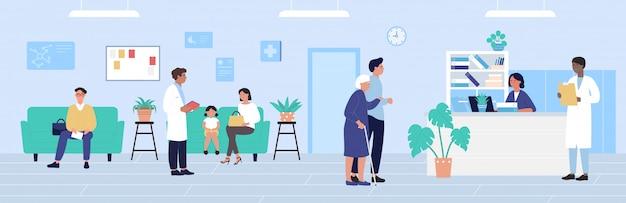Ilustracja recepcji szpitala, postaci z kreskówek pacjenta czekającego na wizytę lekarską, tło gabinetu medycyny opieki zdrowotnej