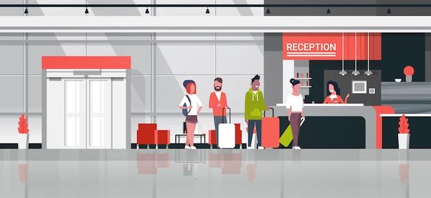 Ilustracja recepcji z podróżnymi