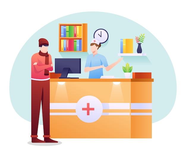Ilustracja recepcjonistki medycznej, personel pomagający w części administracyjnej dla pacjenta.