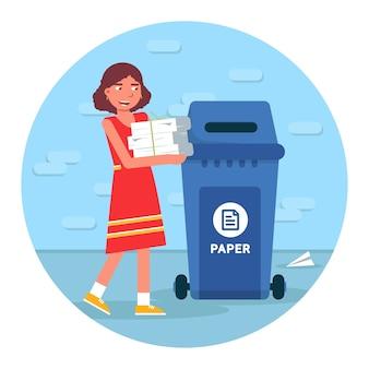 Ilustracja recyklingu śmieci, sortowanie odpadów okrągłe clipart na białym tle. młoda dziewczyna umieszczenie papieru w koszu na śmieci postać z kreskówki, element ponownego wykorzystania materiału