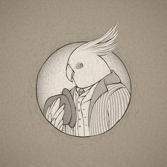 Ilustracja ręcznie rysowane papuga pan w stylu retro