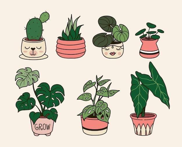 Ilustracja ręcznie rysowane rośliny domowe w pomieszczeniach