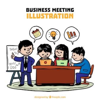 Ilustracja ręcznie rysowane spotkaniu biznesowym
