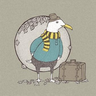 Ilustracja ręcznie rysowane w stylu retro podróżował mewa