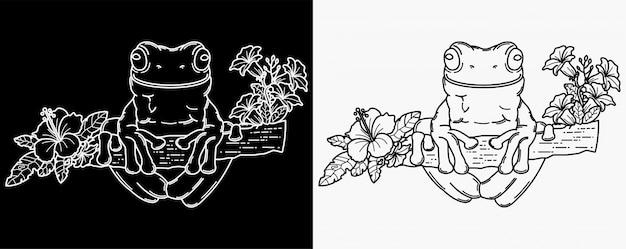 Ilustracja ręcznie rysowane żaby i kwiaty