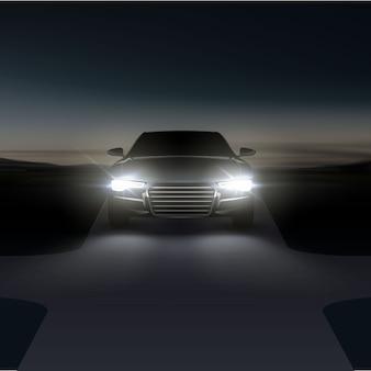 Ilustracja reflektorów samochodowych na asfaltowej wiejskiej drodze