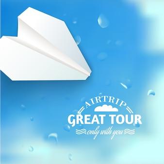 Ilustracja rejsu wakacyjnego z papierowym samolotem