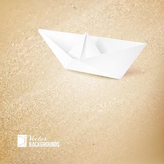 Ilustracja rejsu wakacyjnego z papierowym statkiem