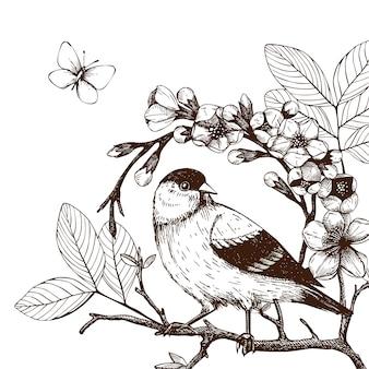 Ilustracja ręką narysować ptaka na kwitnącej gałązce drzewa. vintage szkic ręcznie zarysowanego ptaka