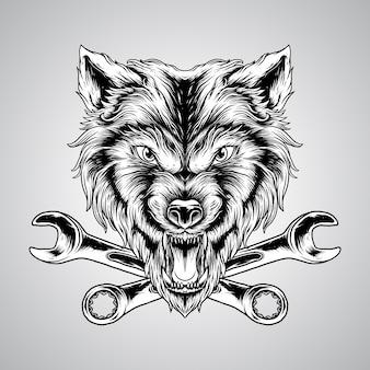 Ilustracja ręka rysunek zły wilk głowy z wektorem stylu grawerowania