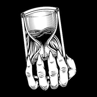 Ilustracja ręka trzyma klepsydrę
