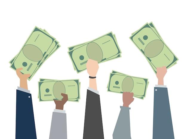 Ilustracja ręki trzyma papierowego pieniądze