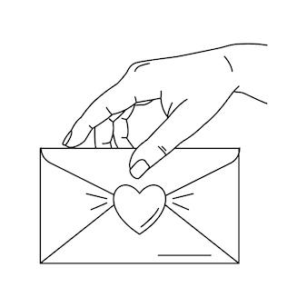 Ilustracja ręki trzymającej kopertę z listem miłosnym. grafika liniowa. projekt na walentynki