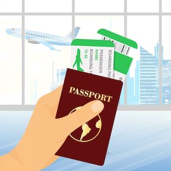 Ilustracja ręki trzymającej paszport z biletami na tle lotniska. podróże koncepcyjne i turystyka.