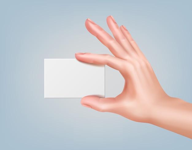 Ilustracja ręki trzymającej wizytówkę