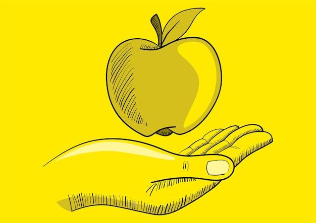 Ilustracja ręki z jabłkiem