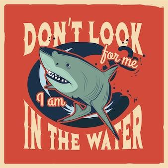 Ilustracja rekina z tekstem wokół niego jpg handdrawn