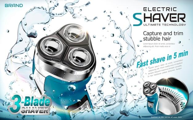 Ilustracja reklam golarki elektrycznej