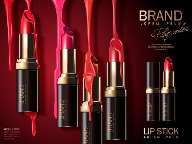 Ilustracja reklam mody szminki