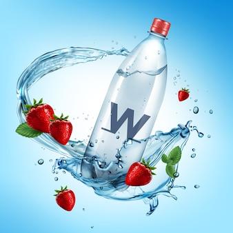 Ilustracja reklamowa pełnej plastikowej butelki i świeżych truskawek wpadających w plusk wody
