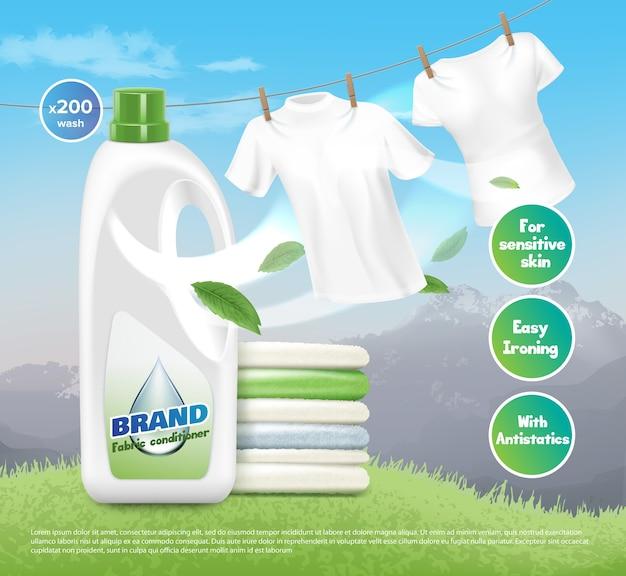 Ilustracja reklamowego detergentu do prania, jasnych białych ubrań, suszonych i złożonych. opakowanie produktu