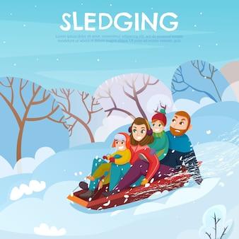 Ilustracja rekreacji zimowej