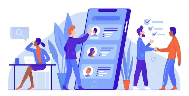 Ilustracja rekrutacji biznesowej, postaci z kreskówek zawodowych ankieterów biurowych szukaj kandydata na rozmowę kwalifikacyjną, zatrudnij nowego pracownika na białym tle