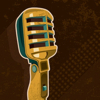 Ilustracja retro mikrofon