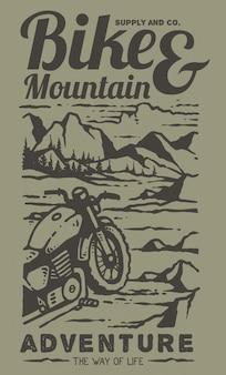Ilustracja retro niestandardowego motocykla na szczycie góry