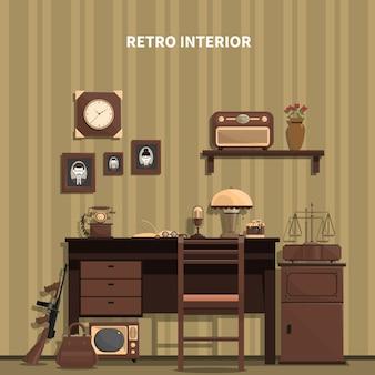 Ilustracja retro wnętrza