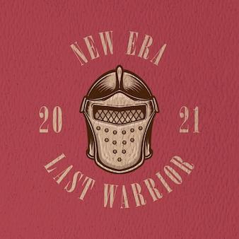 Ilustracja retro wojownika głowy dla znaku logo i projektu koszulki