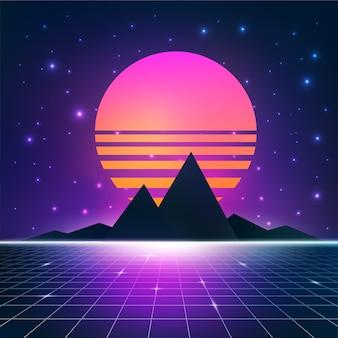 Ilustracja retrowave synthwave ze słońcem, górami i siatką szkieletową