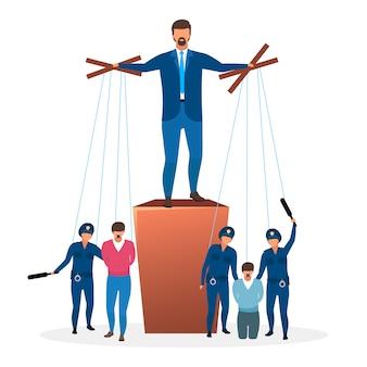 Ilustracja reżimu totalitarnego. metafora systemu politycznego. forma rządu. ograniczenie mowy. nieograniczona i scentralizowana moc. lider, postaci z kreskówek dyktatora