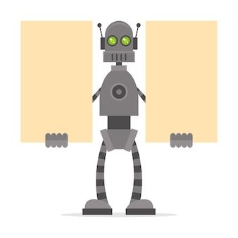Ilustracja robot trzymający puste plakaty, format eps 10