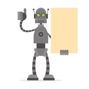 Ilustracja robot trzymający pusty plakat pokazujący kciuki w górę, format eps 10