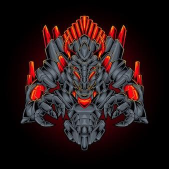 Ilustracja robota smoka potwora w stylu cyberpunk