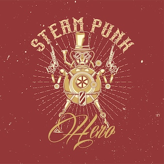 Ilustracja robota steampunk