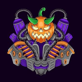 Ilustracja robota z dyni na halloween