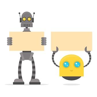 Ilustracja roboty trzymające pusty plakat, format eps 10