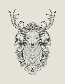 Ilustracja rocznika głowa jelenia z czaszką i kwiatem róży