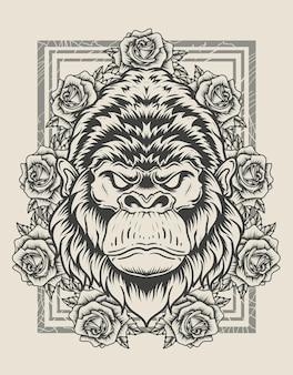 Ilustracja rocznika głowy goryla z kwiatem róży