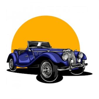 Ilustracja rocznika klasycznego samochodu w jednolitym kolorze