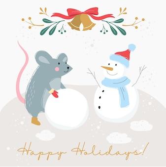 Ilustracja rocznika plakatu na boże narodzenie i nowy rok. ozdoba świąteczna w stylu retro. boże narodzenie transparent ze szczurem i bałwanem