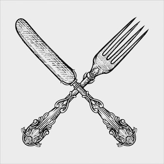 Ilustracja rocznika rozwidlenie i nóż robić w ręka rysującym nakreśleniu projektujemy