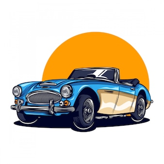 Ilustracja rocznika samochodu calssic z jednolitym kolorem