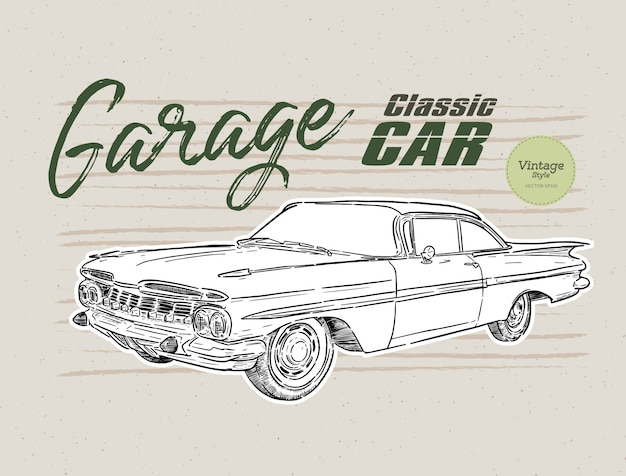 Ilustracja rocznika samochodu klasycznego