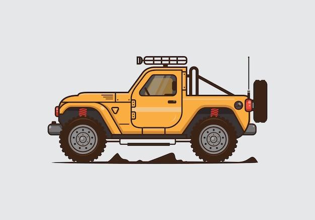Ilustracja rocznika samochodu terenowego. płaskie wektor