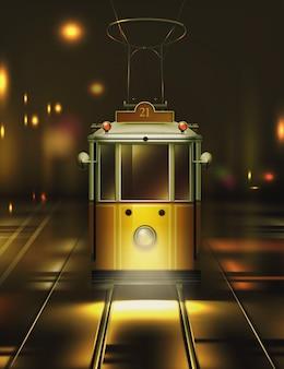 Ilustracja rocznika starego żółtego tramwaju na ulicy w nocy, na białym tle widok z przodu