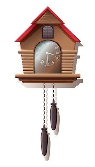 Ilustracja rocznika zegarka ściennego z drewna z kuku, staromodny. na białym tle
